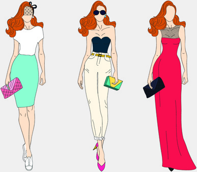 387x338 Vector Fashion Models Free Vector Download (5,131 Free Vector) For