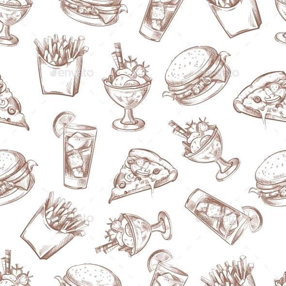 590x590 Fast Food Vector Seamless Background, Menu Pattern By Microvone