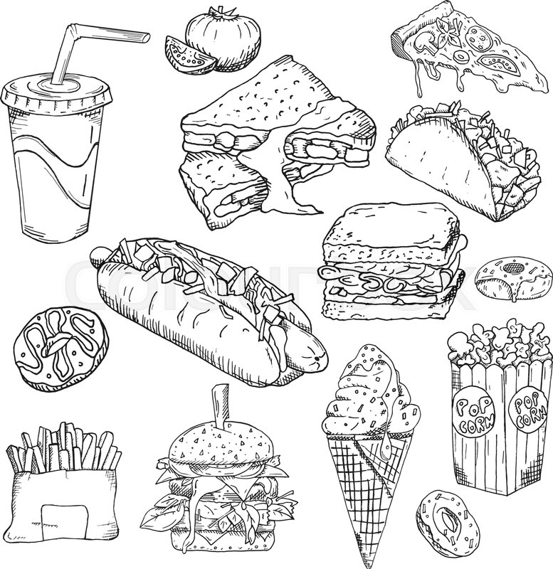 777x800 Fast Food Background. Snack Collection. Junk Food. Vector