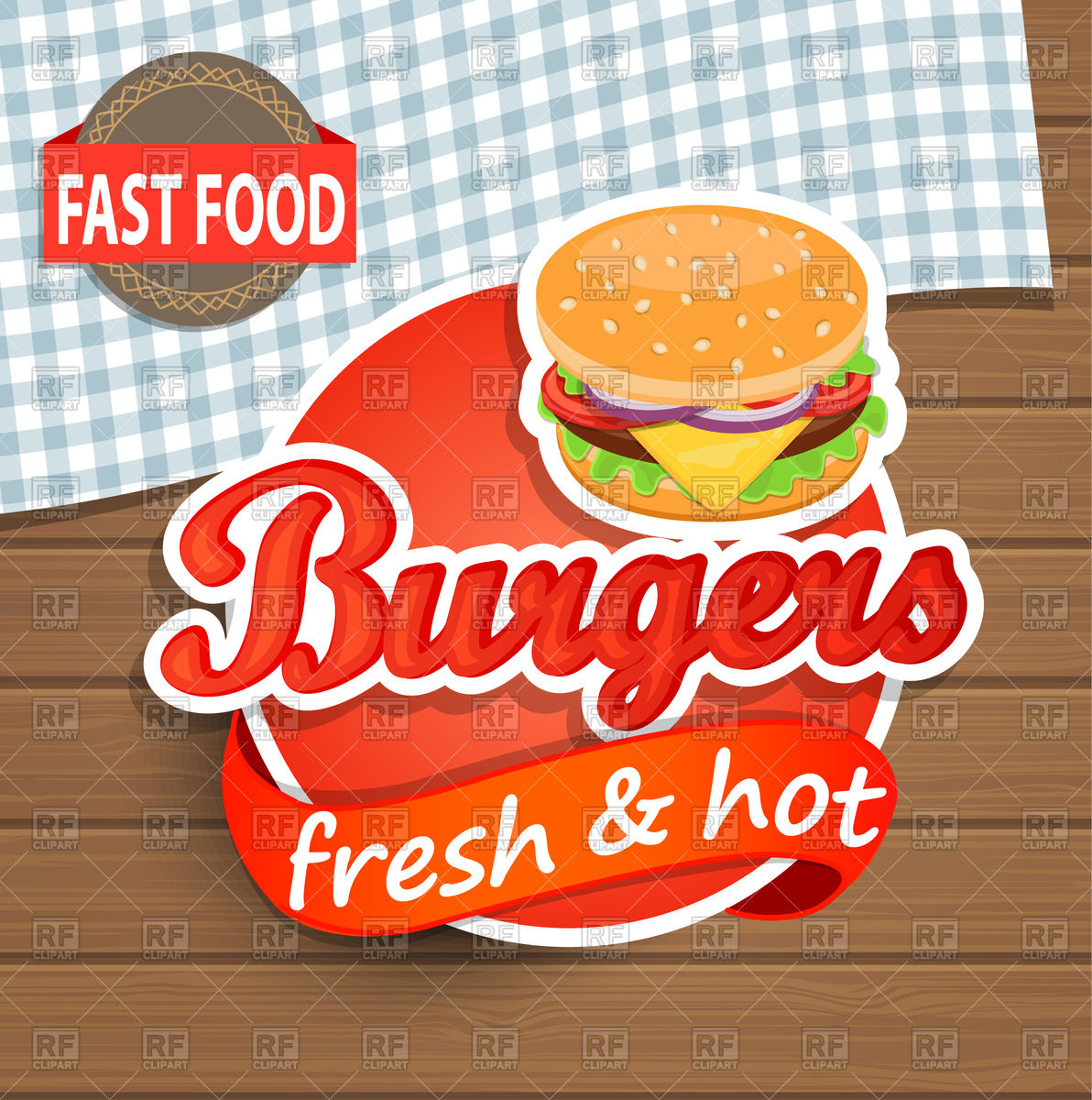 1192x1200 Burgers Emblem On Wooden Background, Fast Food Vector Image
