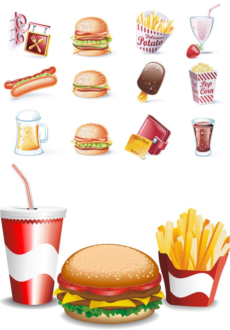 800x1150 Fast Food Vector. Set Of Vector Fast Food Icons And Clipart