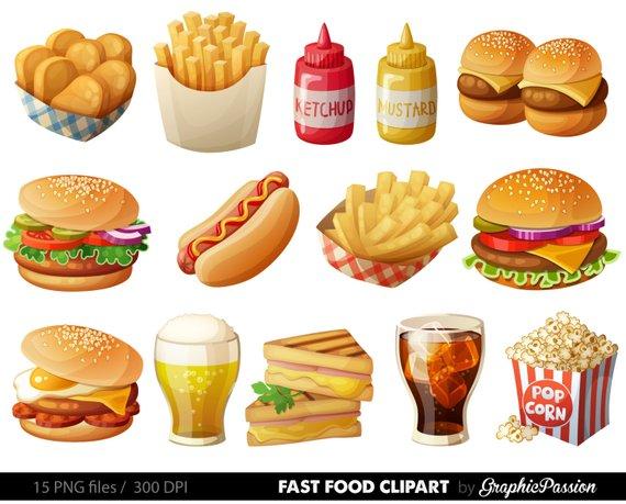 570x459 Fast Food Clipart Hamburger Clip Art Food Vector Graphic Food Etsy