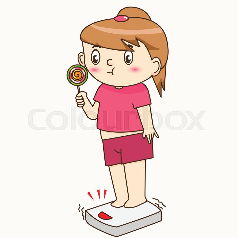 800x800 Fat Girl Eating Lollipop And Feet On The Floor Scales Stock