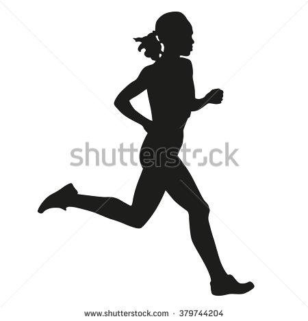 450x470 Female Running Silhouette Silhouette Of A Woman Running Long
