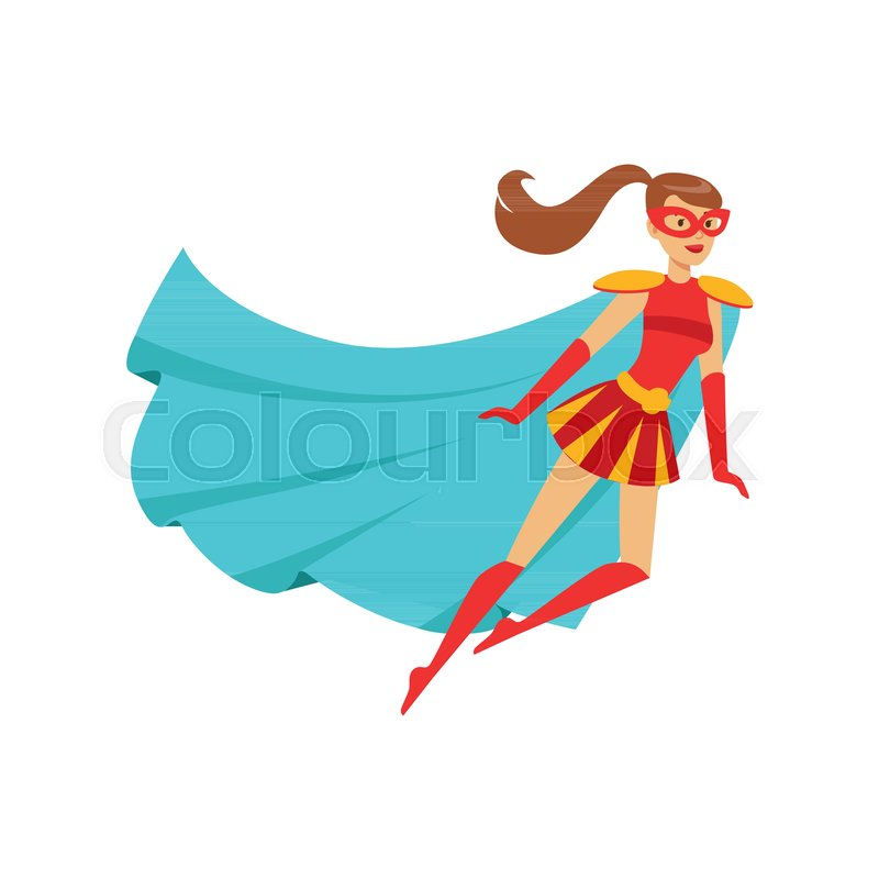 800x800 Female Superhero In Classic Comics Costume With Blue Cape, Red