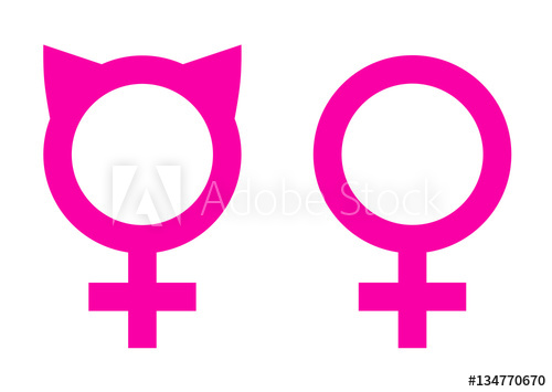 500x355 Female Solidarity Symbols Icons. Pink Cat Ears And Venus Sign
