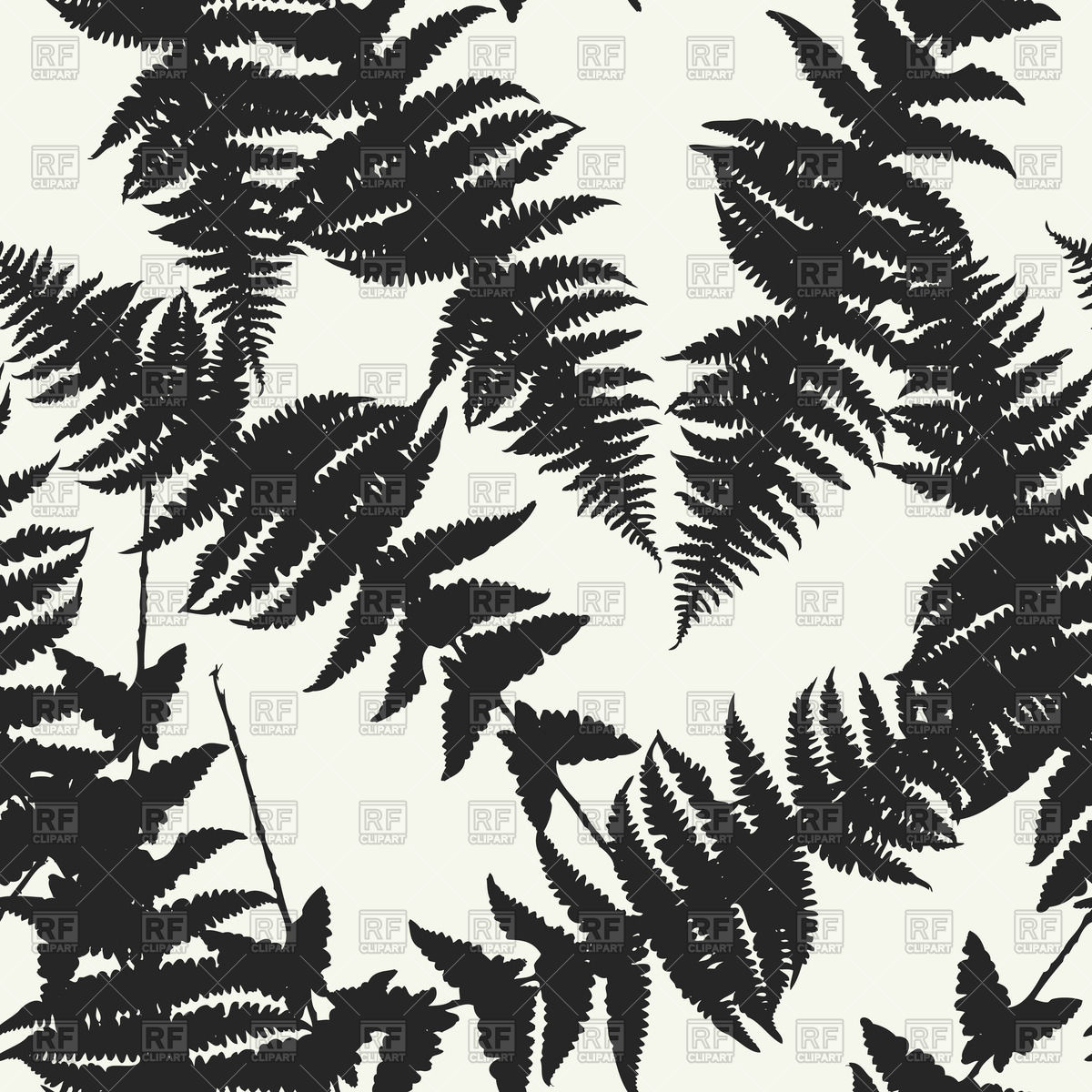 1200x1200 Seamless Pattern Of Fern Leaves Vector Image Vector Artwork Of