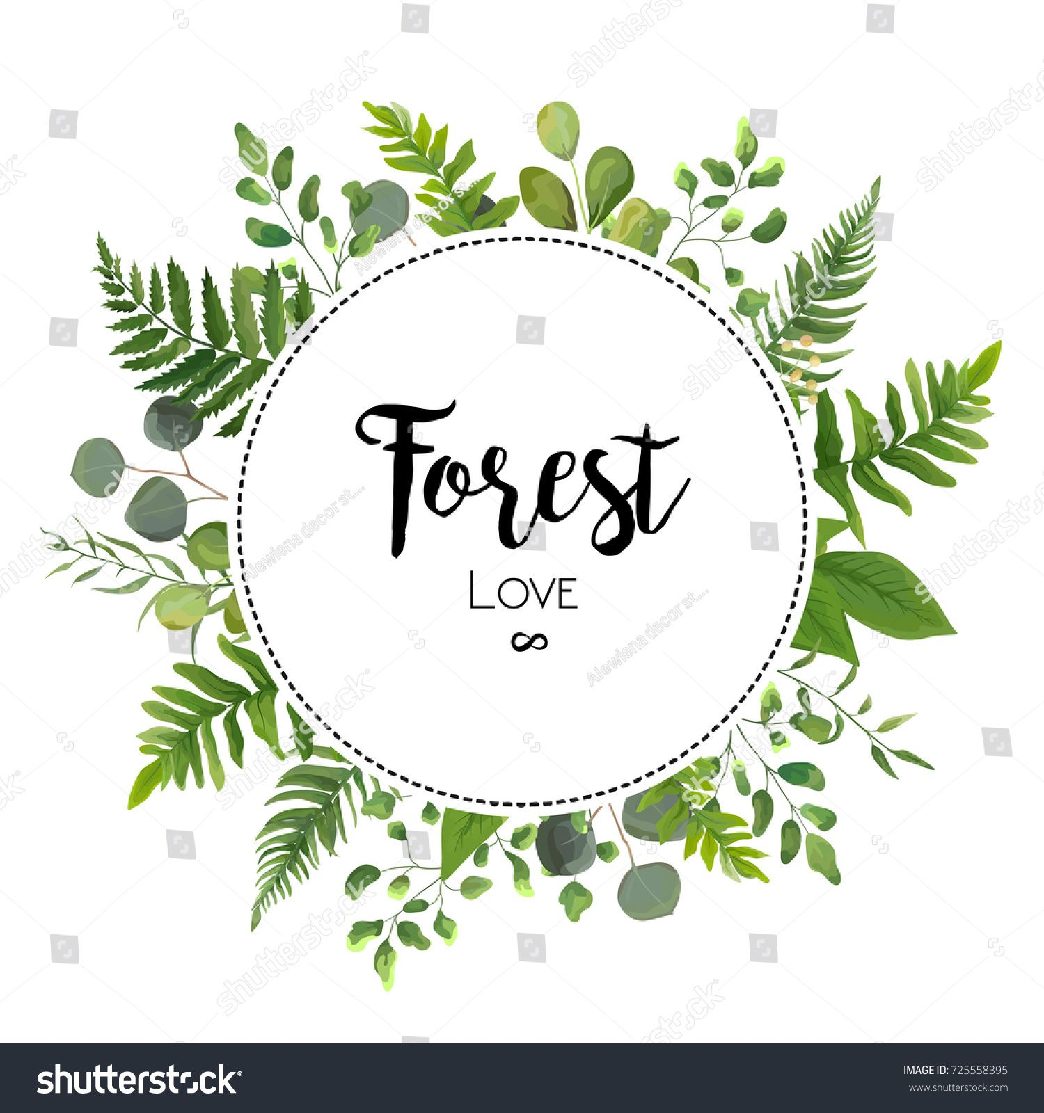 1500x1600 Floral Vector Invite Card Design With Green Eucalyptus Fern Leaves