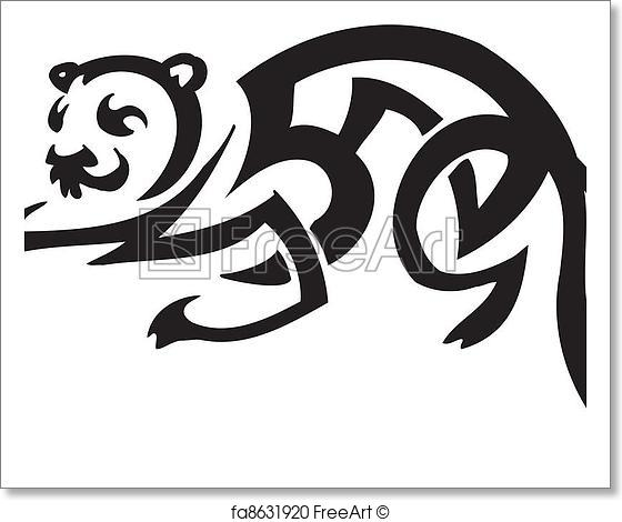 560x470 Free Art Print Of Ferret In Tribal Style