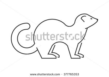 450x320 Linear Vector Silhouette Of A Ferret On A White Background