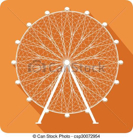 450x470 Ferris Wheel, Vector Illustration. Ferris Wheel On Orange