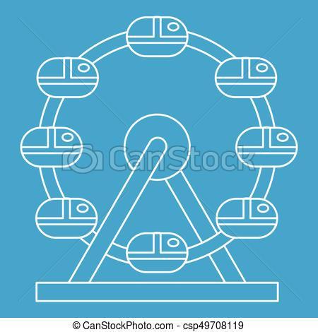 450x470 Ferris Wheel Icon, Outline Style. Ferris Wheel Icon Blue Outline