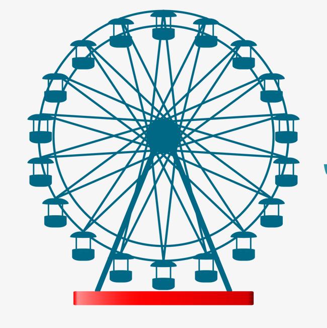 650x651 Blue Color Ferris Wheel Vector Material, Blue, Ferris Wheel