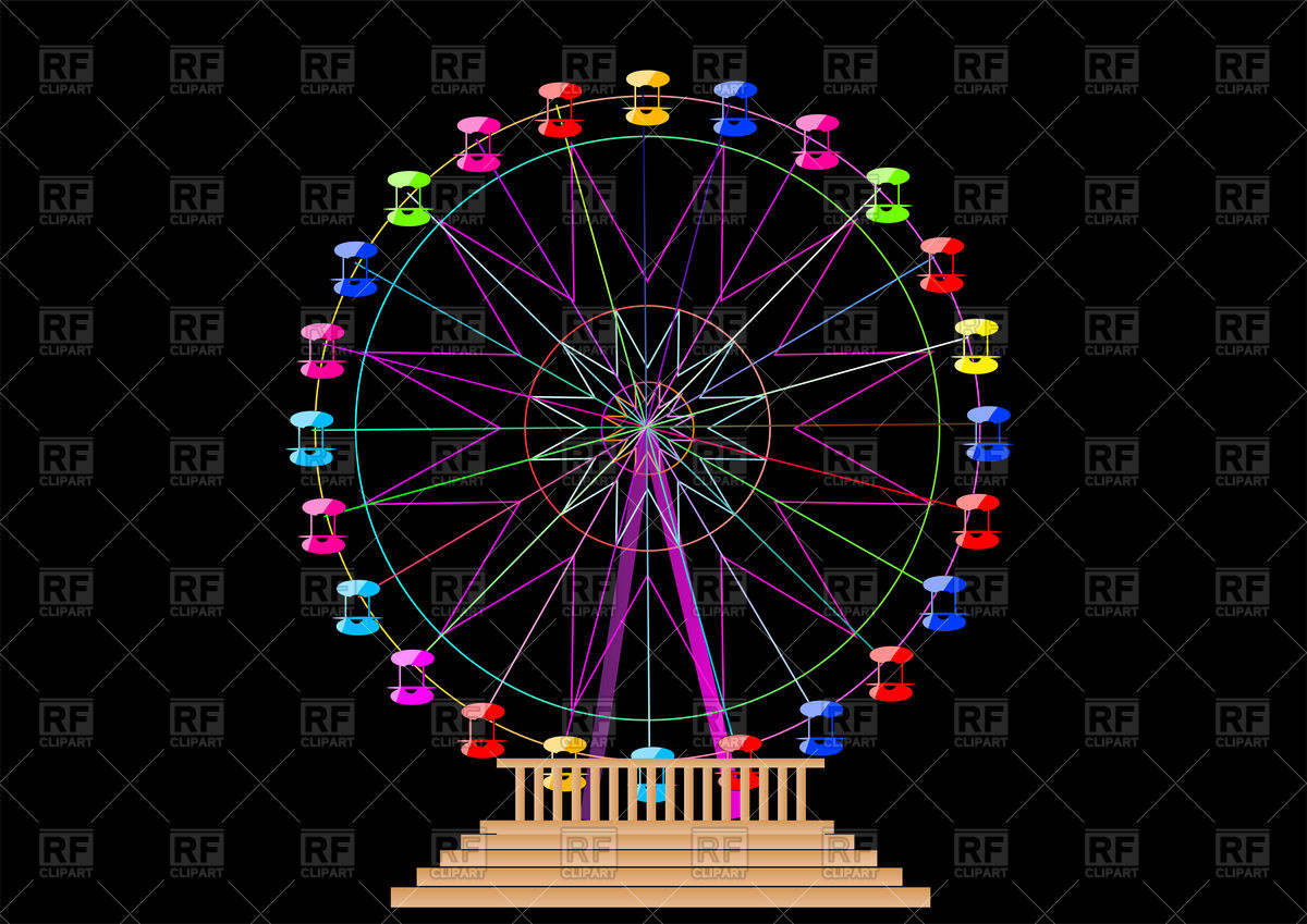 1200x849 Ferris Wheel Isolated On A Black Background Vector Image Vector