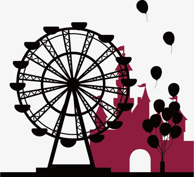 650x592 Ferris Wheel Silhouette, Wheel Vector, Silhouette Vector, Ferris