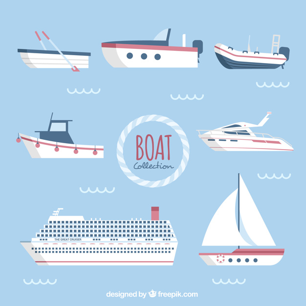 626x626 Assortment Of Flat Boats With Red Details Vector Free Download