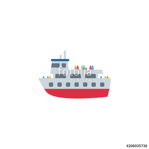 500x500 Ferry Boat, Passenger Ship Sea Transport, Transportation Vector