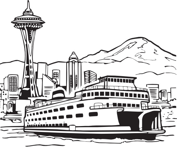 600x498 Space Needle And Ferry Clip Art Free Vector In Open Office Drawing