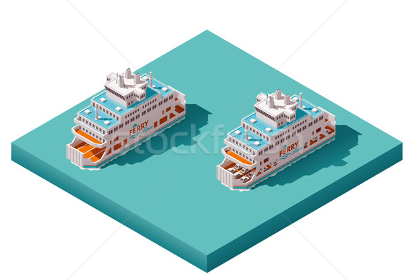 600x406 Vector Isometric Ferry Vector Illustration Taras Livyy (Tele52