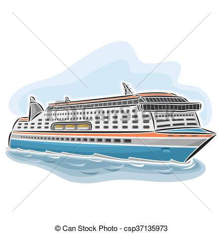 450x470 Cruise Ferry. Vector Illustration Of Logo For Cruise Ferry