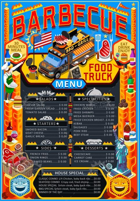 483x690 Food Truck Menu Street Food Grill Bbq Festival Vector Poster