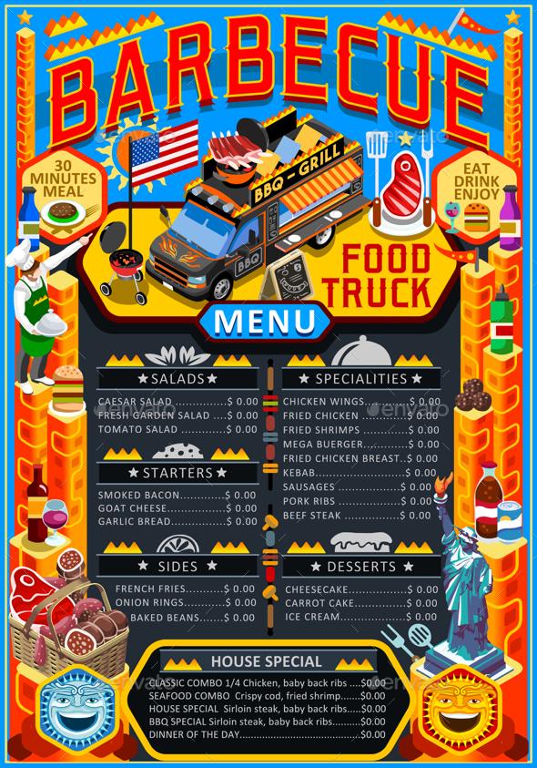 590x843 Food Truck Menu Street Food Grill Bbq Festival Vector Poster By