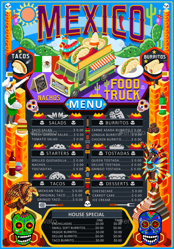 590x843 Food Truck Menu Street Food Mexican Festival Vector Poster By