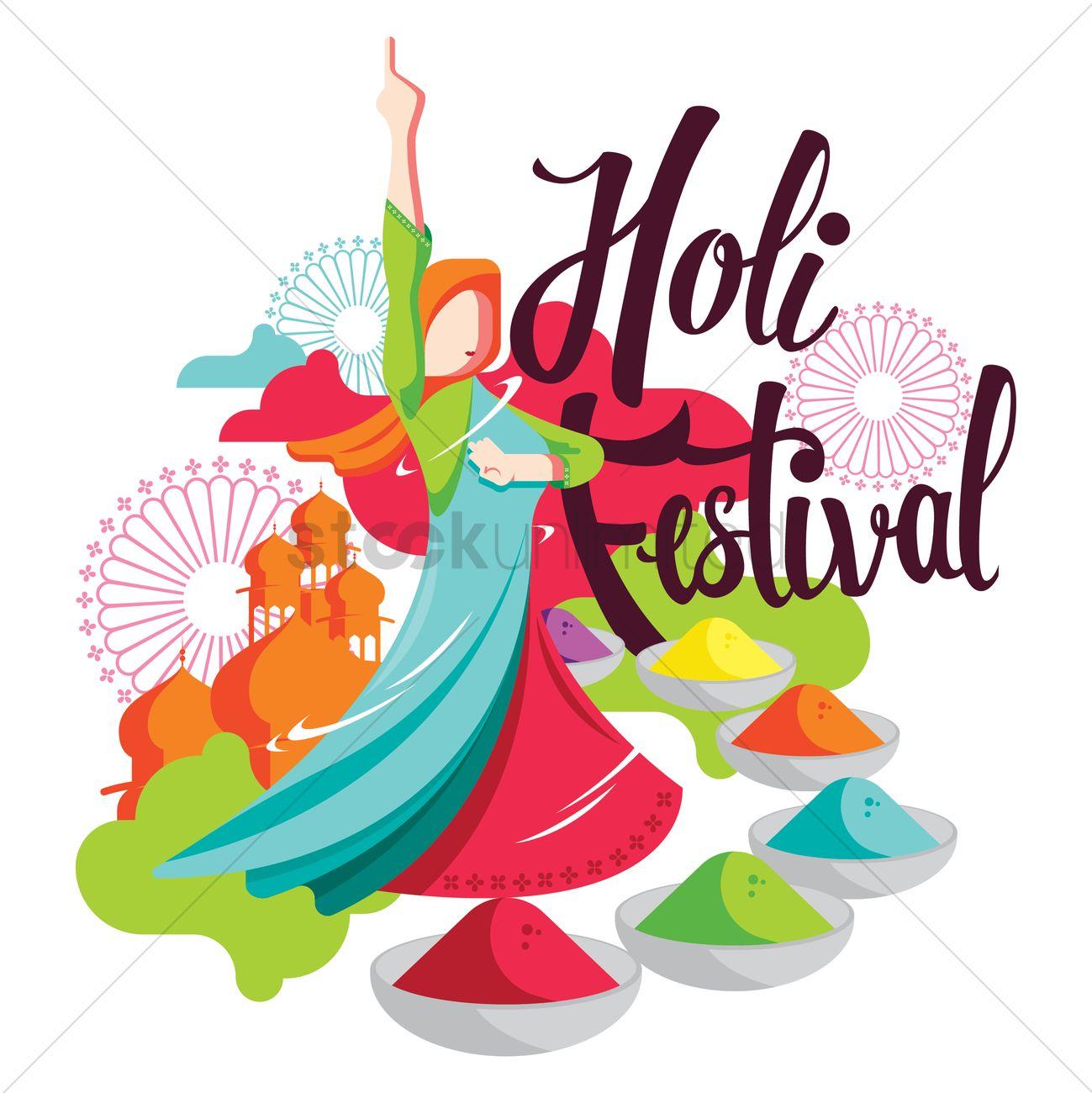 1299x1300 Holi Festival Vector Image