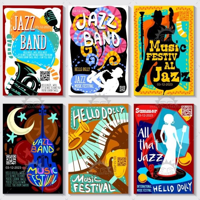 690x690 Open Air Jazz Music Festival Vector Poster Design Bundle
