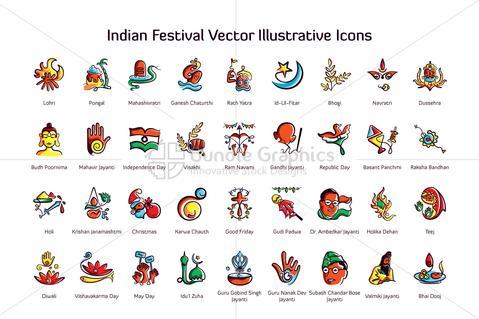 479x319 Royalty Free Indian Festival Vector Illustrative Linear Icons Vecras