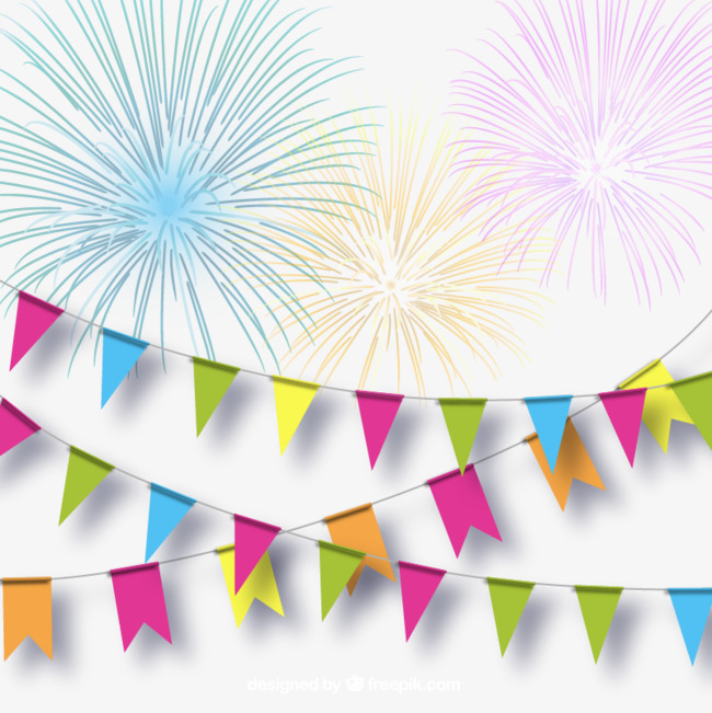 650x651 Color Festive Fireworks And Pull Flag Background Vector, Fireworks