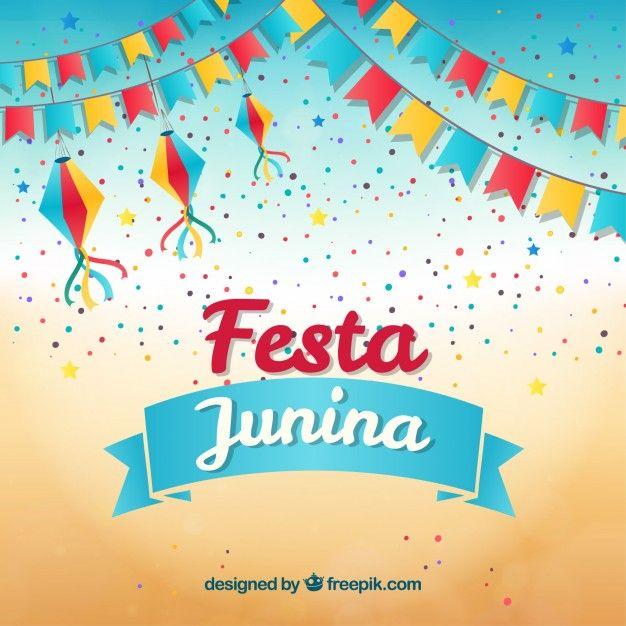 626x626 Fondo De Fiesta Junina Con Guirnaldas Y Confeti Vector Gratis