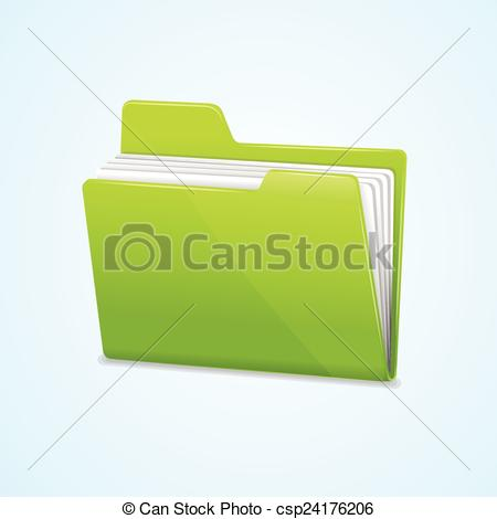 450x470 Vector Green File Folder Icon Isolated On Blue Background.