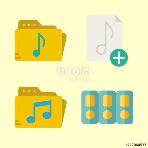 500x500 Folder Vector Icons Set. Music Folder, Music File And Folders In