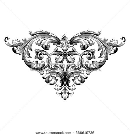450x470 Damask Clipart Heart Filigree
