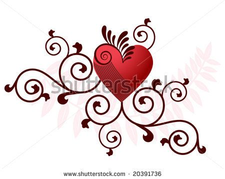 450x358 Filigree Heart Vector