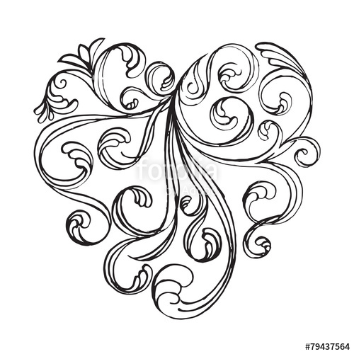 500x500 Filigree Calligraphy Of Heart Shape Abstract Drawing Art Design