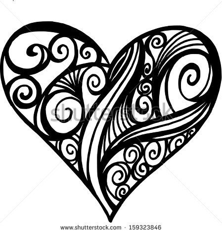 449x470 Illustration Doodle Of A Filigree Heart Podelki Iz Shpagata