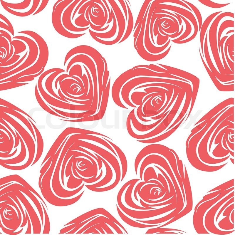 800x800 Pink Art Vector Heart, Rose Pattern. Seamless Flower Background