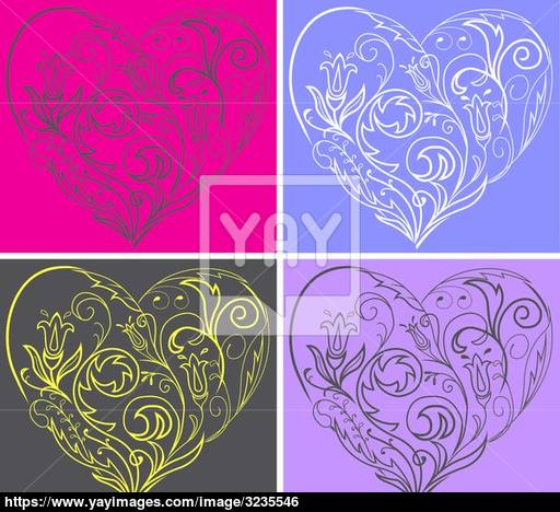 512x468 Set Filigree Hearts Vector