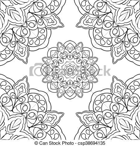 450x470 Eastern Filigree Pattern. Eastern Ornament Of Mandalas. Filigree
