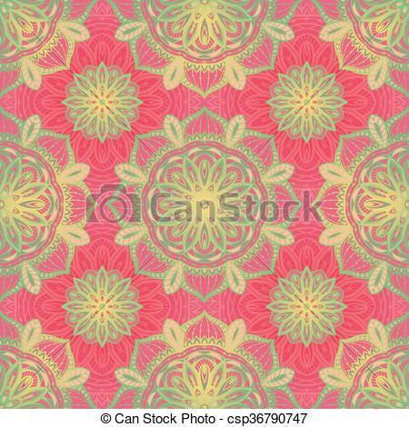 450x470 Filigree Pink Pattern. Filigree Pink Pattern Of Mandalas. Vector