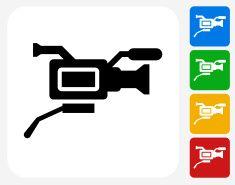 235x185 Film Camera Icon Flat Graphic Design Vector Art Illustration