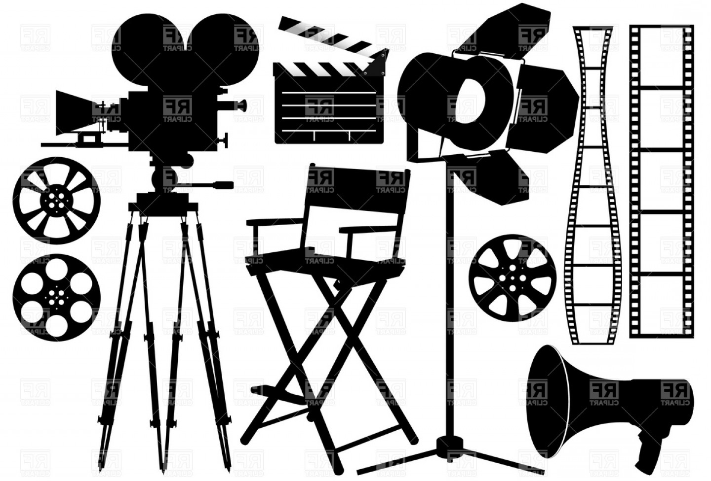 1440x976 Film Industry Silhouette Icons Vector Clipart Shopatcloth
