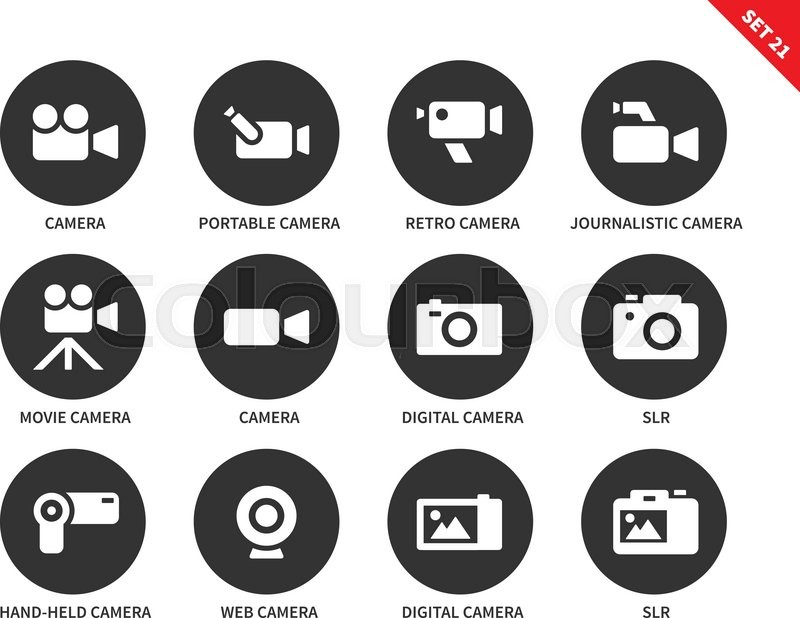 800x618 Camera And Technology Vector Icons Set. Movie And Film Industry
