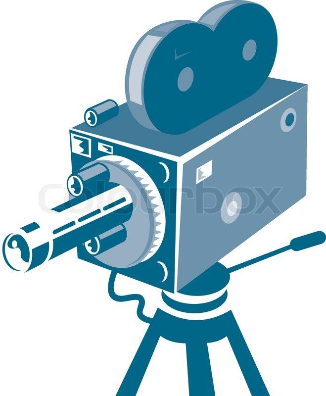 659x800 Vintage Film Movie Camera Retro Stock Vector Colourbox