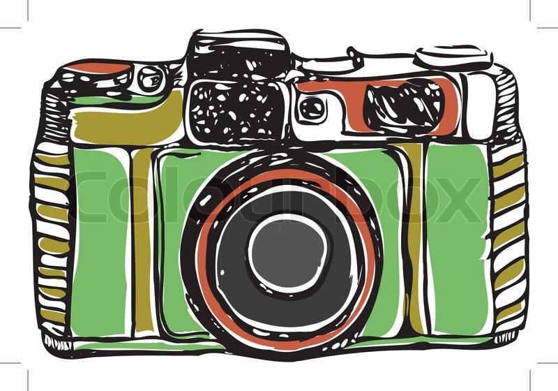 800x560 Vintage Film Camera, Black Outline, On A White Background, Vector