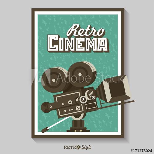 500x500 Vintage Film Camera. Vector Poster Retro Movie Theater. Vector