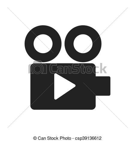 450x470 Videocamera Film Movie Cinema Icon. Vector Graphic. Videocamera