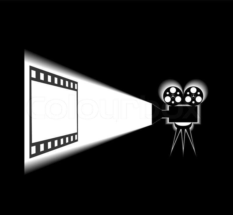 800x737 Movie Projector And Screen Are Shown In The Picture Stock Vector